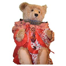 Wonderful Vintage Teddy Bear LARGE Steiff W/ Old Clown Suit and Accessories Jointed Mohair Button Tag Jester W/ Crier