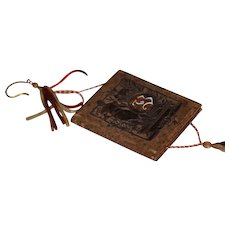 Antique Doll Leather & Enamel Diary For Fashion Doll W/ Sash and Pencil Leather Book Embossed Miniature