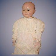 Antique Doll Sonneberg Wax over Papier Mache Tauffling Baby Glass Eye GORGEOUS Paper Mache