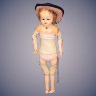 Antique Doll Sonneberg Wax over Papier Mache Paper Mache Tauffling Pull String Crier