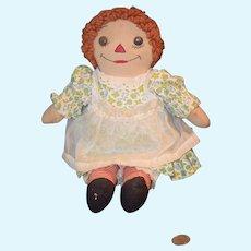 Old Doll Raggedy Ann Cloth Rag Doll Button Eyes Sewn on Features