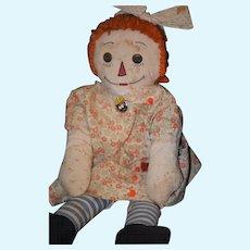 Old Doll Raggedy Ann Cloth Doll Rag Doll