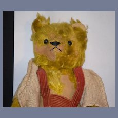Old Teddy Bear Doll Toy Mohair Jointed Button Eyes