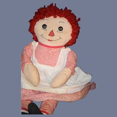 Old Doll Raggedy Ann Cloth Rag Doll Black Outline Nose Sweet outfit Button Eyes