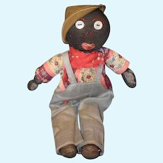 Old Cloth Black Doll Stockinette Rag Doll Button Eyes Sewn on Features