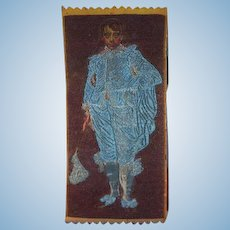 Old Doll Rug or Wall Hanging Wonderful Miniature Dollhouse Blue Boy