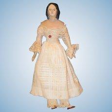 Antique Doll Milliner's Model Wood & Papier Mache Rare Hair Style