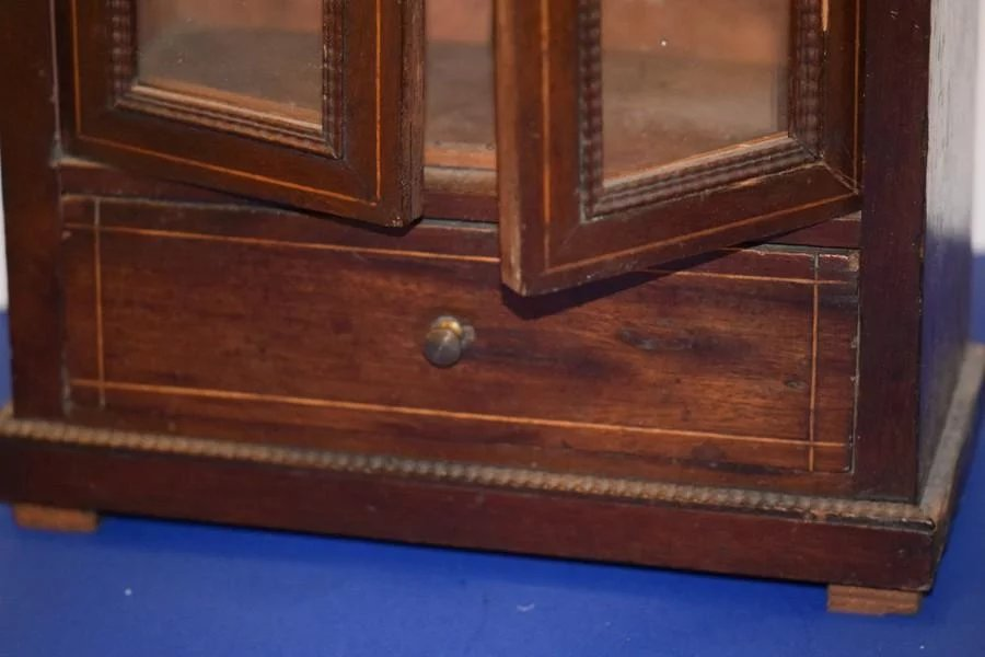 Antique Doll Miniature Cabinet Wood Wardrobe For French