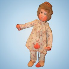 Vintage Doll Felt Cloth Doll Klumpe Character Adorable