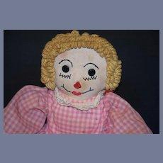 Old Doll Cloth Raggedy Ann Unusual Rag Doll