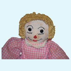 Old Doll Cloth Raggedy Ann Unusual Rag Doll