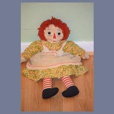 Old Doll Raggedy Ann Cloth Doll Rag Doll Button Eyes Dressed