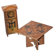 Old Doll Miniature Dollhouse Wood & Litho Game Table and Clock