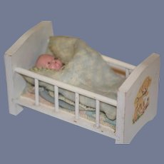 Old Doll Miniature Bisque Baby Doll In Wood Crib Dollhouse