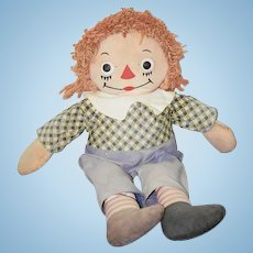 Old Doll Johnny Gruelle's Georgene Novelties Raggedy Andy CUTE outfit!! Cloth Doll Tagged Original Outfit