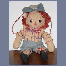 Old Doll Raggedy Andy Button Eyes Unusual Cloth Rag Doll