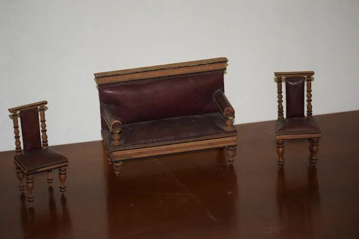 Amazing Antique Doll Miniature Furniture Set Sofa Chairs Leather Wood Dollhouse Theyellowbook Wood Chair Design Ideas Theyellowbookinfo