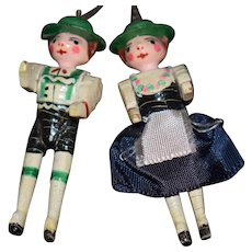 Old Doll Miniature Set Wood Pegged Dolls Pair Jointed