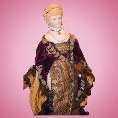 Antique Doll Parian Molded Head Piece Fancy Hair Style Pierced Ears Molded Bodice