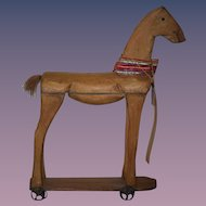 Old Doll Toy Wood Horse On Wheels Pull Toy PERFECT SIZE Award Winner
