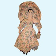 Old Doll Cloth Unusual Sewn on Features