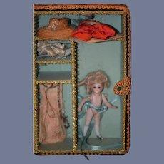 Antique Doll Miniature Mignonette Doll W/ Trousseau Clothes and Hats Swivel Neck Wonderful Dollhouse