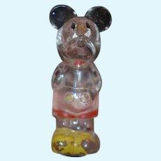 Old Doll Mickey Mouse Walt Disney Glass Figural Bottle Wonderful Perfume Bottle