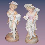 Antique Doll Figurines Figurine Set Intaglio Eyes Bisque Girl Boy Statue WONDERFUL French Market