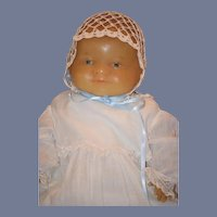 Vintage Doll Wax Baby Character Artist Poured Wax in Christening Gown Glass Eyes