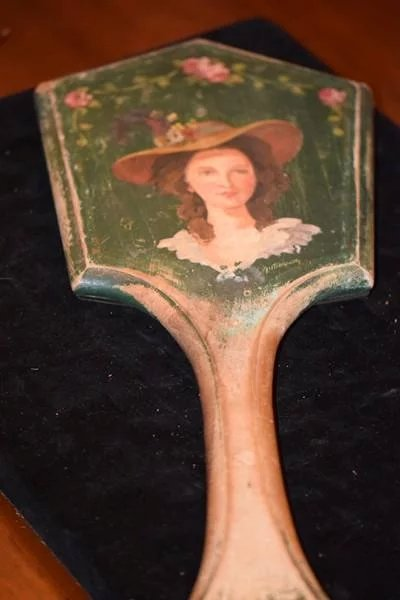 Old Wood Hand Held Mirror W Painted Portrait For Doll