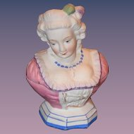 Old Doll Figurine Half Doll China Head Bisque Vanity Jar Unusual Trinket Box
