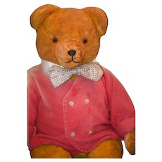 Old Teddy Bear Jointed W/ Growler Dressed ADORABLE