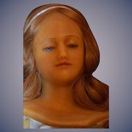 Antique Doll Poured Wax Lady Glass Eyes WONDERFUL Angelic Face Creche