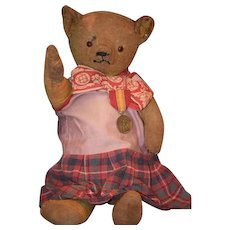 Old Teddy Bear Jointed Wonderful Face Dressed Playmate for Your Doll!