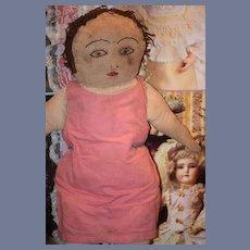 Old Doll Cloth Rag Doll Folk Art Unusual Early Sewn Features Folk Art