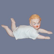 Old Doll Bisque Piano Baby Crawling Fussy Mad Baby