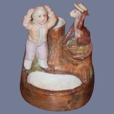 Old Doll Bisque Miniature Boy W/ Monkey Monkey Takes Hat Piano Baby Figurine