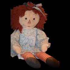 Old Doll Raggedy Ann Cloth Doll Button Eyes Rag Doll HUGE 30""