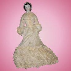 Antique Doll RARE China Head Kestner Grape Lady Porcelain Gorgeous Sculpted Snood