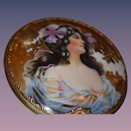 Unusual Hand Held Mirror Porcelain Painted Lady Display
