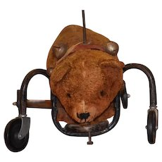Old Doll Child Toy Riding Teddy Bear on Wheels Wonderful Push Toy Mohair Ride On Bear Display