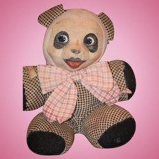Wonderful Old Doll Toy Cloth Panda Bear Oil Cloth Wonderful Teddy Bear