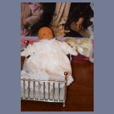 Vintage Doll Beckett Originals Signed Wood Carved Doll Bitsie w/ Doll Bed Artist OOAK