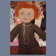 Old Doll Cloth Doll Rag Doll Painted Features Folk Art Primitive Unusual