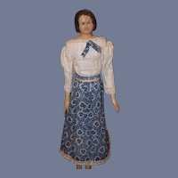 Antique Doll Milliner's Model Wood & Papier Mache Paper Mache Rare Hair Style