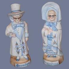 Old Doll Bisque Figurine Set Figurines Piano Baby Grandpa Grandma W/ Glasses wonderful
