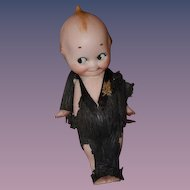 Antique Doll Kewpie in Original Paper Clothes Bisque Rose O'neill
