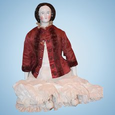 Antique Doll China Head Netted Snood Fancy Lady Conta & Boehme 1860's