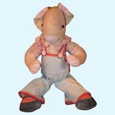 Old Cloth Doll Toy Rabbit Rag Doll Button Eyes