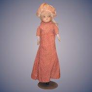 Antique Doll Wax Over Papier Mache Wood Arms Glass Eyes Paper Mache
